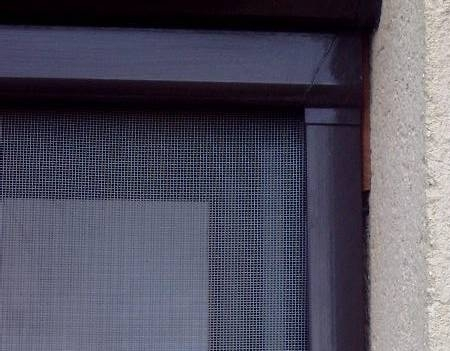 Roller blind window fly screen kit 3 brown aluminium for Pull down fly screen for doors