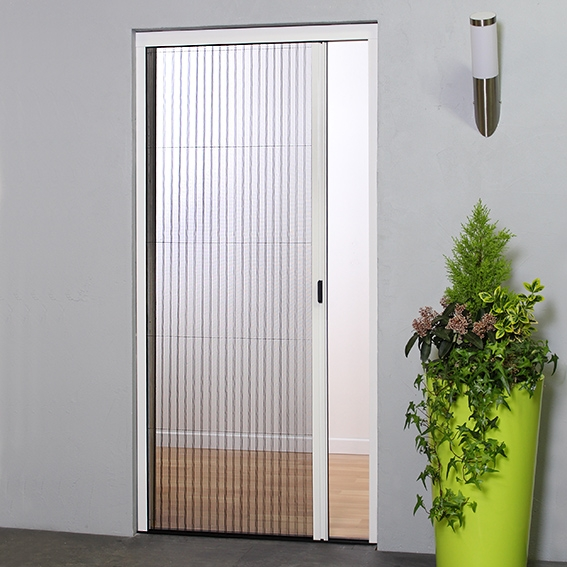 Retractable concertina door fly screen pleated bug screens for Retractable insect screen door